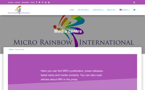 Screenshot of Press Page microrainbow.org - Media centre - Micro Rainbow International - captured Feb. 18, 2018