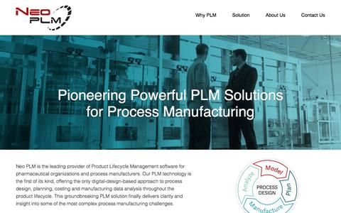 Screenshot of Home Page neoplm.com - Neo PLM | The Leader In PLM For Process Manufacturing - captured Sept. 6, 2015
