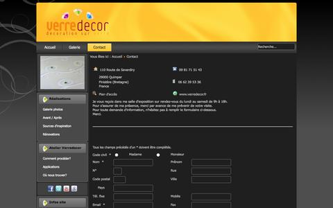 Screenshot of Contact Page verredecor.fr - Verredecor - Contact - captured Oct. 29, 2014