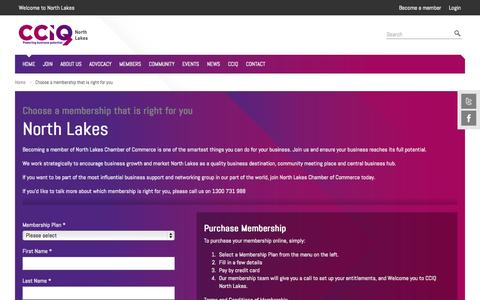 Screenshot of Signup Page cciq.com.au - Choose a membership that is right for you » North Lakes - captured Nov. 5, 2014