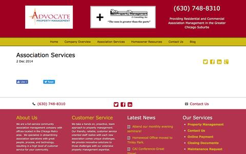 Screenshot of Support Page advocatepropertymanagement.com - Association Services - Advocate PM - captured Nov. 20, 2016