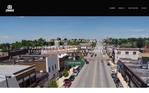 Screenshot of Home Page zinniafilms.com - Zinnia Films - captured Sept. 11, 2015