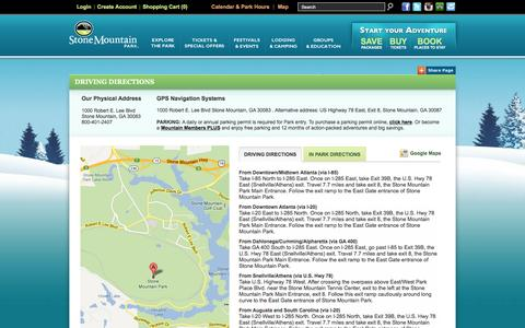 Screenshot of Maps & Directions Page stonemountainpark.com - Stone Mountain Park - Directions - captured Feb. 8, 2016