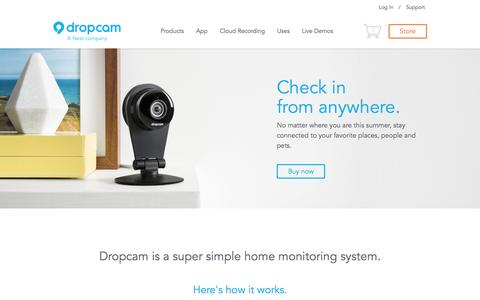 Screenshot of Home Page dropcam.com - Dropcam - Super Simple Video Monitoring and Security - captured Sept. 15, 2014