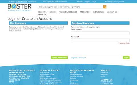 Screenshot of Login Page bosterbio.com - Customer Login - captured Nov. 23, 2016