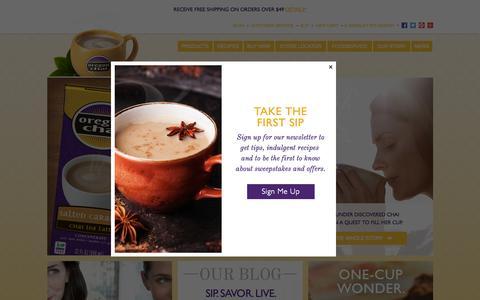 Screenshot of Home Page oregonchai.com - Chai Tea Latte and Espresso Latte Concentrate | Oregon Chai - captured Oct. 12, 2015