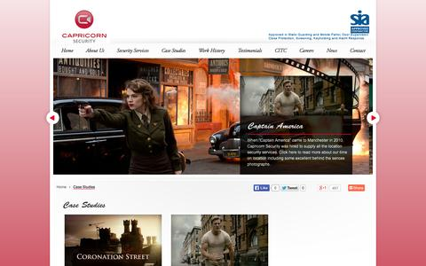 Screenshot of Case Studies Page capricornsecurity.co.uk - Capricorn Security - Case studies of our security services in action for some of our clients     Capricorn Security – Specialist Security Services for the Film & TV Industry - captured Oct. 1, 2014
