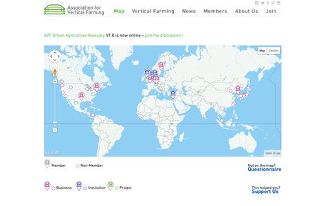 Screenshot of Home Page Maps & Directions Page vertical-farming.net - Association for Vertical Farming - captured Oct. 4, 2014