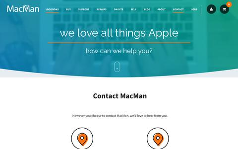 Screenshot of Contact Page Locations Page macman.co.uk - Contact Us | MacMan - captured Oct. 18, 2018