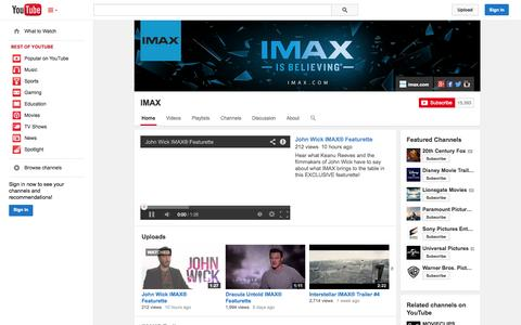Screenshot of YouTube Page youtube.com - IMAX  - YouTube - captured Oct. 23, 2014