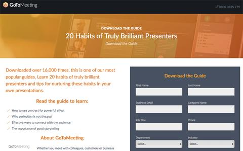 Screenshot of Landing Page gotomeeting.com - 20 Habits of Truly Brilliant Presenters - captured April 14, 2018