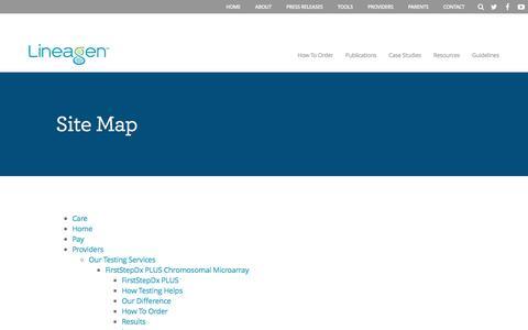 Screenshot of Site Map Page lineagen.com - Site Map - Lineagen - captured Dec. 28, 2016