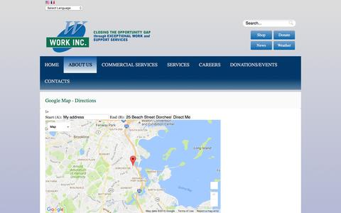 Screenshot of Maps & Directions Page workinc.org - Directions - captured Aug. 14, 2016