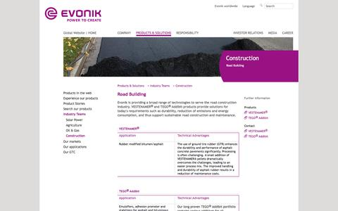 Road Building - Construction Industry - Evonik Industries - Specialty Chemicals