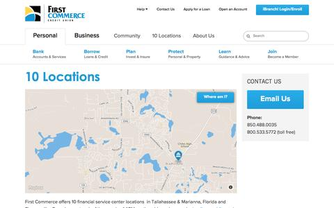 Screenshot of Locations Page firstcommercecu.org - North Florida Credit Union, South Georgia Credit Union   First Commerce Credit Union - captured Feb. 10, 2016