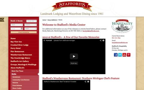 Screenshot of Press Page staffords.com - Welcome to Stafford's Media Center - Stafford's Hospitality - captured Oct. 7, 2014