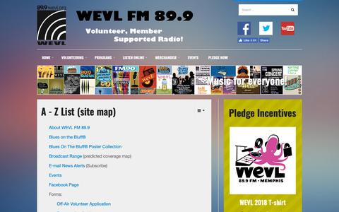 Screenshot of Site Map Page wevl.org - Site Map - captured Oct. 18, 2018