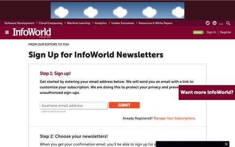 Screenshot of Signup Page infoworld.com - Newsletters | InfoWorld - captured Dec. 10, 2018