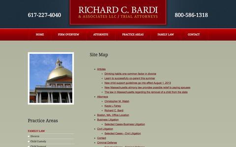 Screenshot of Site Map Page richardbardi.com - Site Map   Richard C. Bardi & Associates LLC   Boston, Massachusetts - captured Oct. 6, 2014