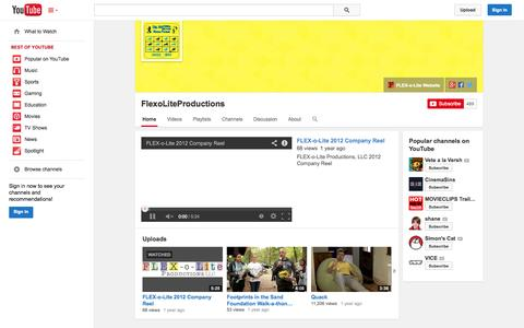 Screenshot of YouTube Page youtube.com - FlexoLiteProductions  - YouTube - captured Oct. 23, 2014