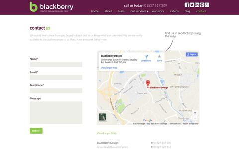 Screenshot of Contact Page blackberry.uk.com - Contact Us - Blackberry Design | Redditch - captured Nov. 22, 2016