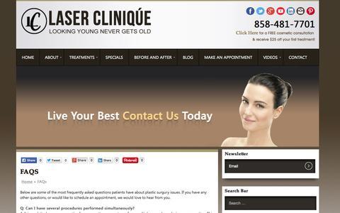 Screenshot of FAQ Page laser-clinique.com - FAQ's - Laser Clinique - captured Sept. 29, 2014
