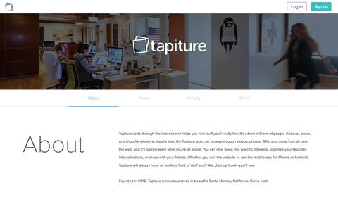 Screenshot of About Page tapiture.com - Tapiture - captured Oct. 1, 2015