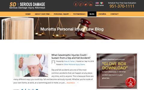 Screenshot of Blog sdinjuryattorney.com - Blog - Murrieta Personal Injury Lawyers - Free Consult - captured Sept. 29, 2018