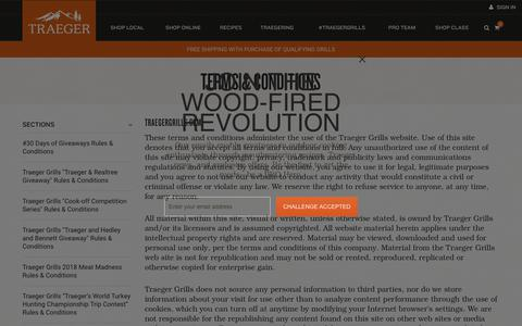 Screenshot of Terms Page traegergrills.com - Terms and Conditions - captured Nov. 2, 2018