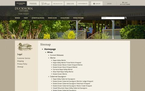Screenshot of Site Map Page duckhorn.com - Duckhorn Vineyards - Sitemap - captured Sept. 25, 2014