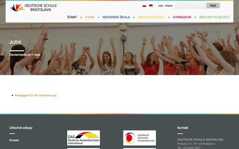 Screenshot of Jobs Page deutscheschule.sk - Jobs | Deutscheschule - captured Oct. 9, 2018