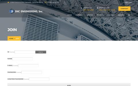 Screenshot of Signup Page snceng.com - JOIN – SNGENG - captured Sept. 30, 2017