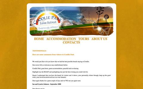 Screenshot of Testimonials Page coodliepark.com.au - Coodlie Park Farm Retreat, Eyre Peninsula, Testimonials - captured Oct. 3, 2014