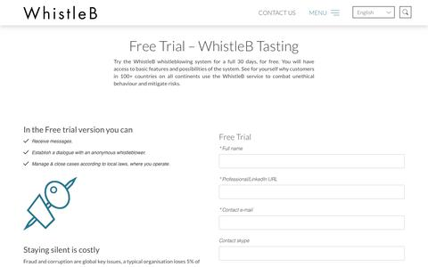 Screenshot of Trial Page whistleb.com - Free Trial - Try the WhistleB Whistleblowing System, For Free - captured Jan. 15, 2018