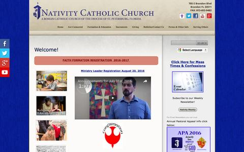 Screenshot of Home Page nativitycatholicchurch.org - Nativity Catholic Church: Welcome! - captured Aug. 12, 2016