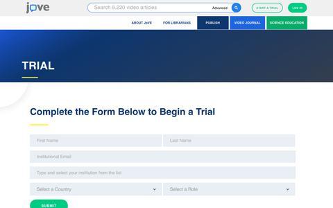 Screenshot of Trial Page jove.com - TRIAL | JoVE - captured Sept. 20, 2018