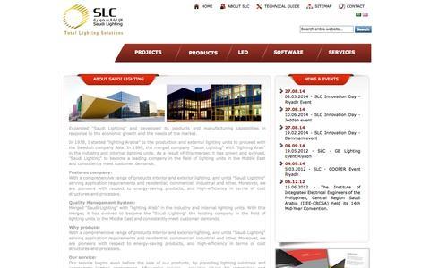 Screenshot of About Page saudilighting.com - Saudi Lighting | About SLC - captured Oct. 3, 2014