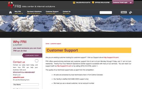 Screenshot of Support Page frii.com - Customer Support | FRII - captured Sept. 24, 2014