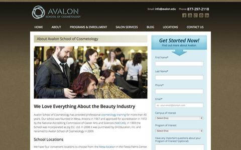 Screenshot of About Page avalon.edu - About Avalon School of Cosmetology | Avalon School of Cosmetology - captured Oct. 4, 2014