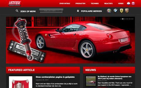 Screenshot of Home Page intraxracing.nl - Auto veren, schokdempers en schroefsets door Intrax Racing Suspension - Intrax Racing - captured Oct. 6, 2014