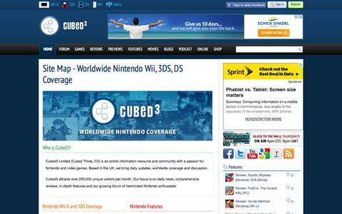Screenshot of Site Map Page cubed3.com - Site Map - Worldwide Nintendo Wii, 3DS, DS Coverage at Nintendo Cubed3 - captured Sept. 24, 2014