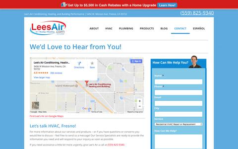 Screenshot of Contact Page leesair.com - We'd Love to Hear from You!   Lee's Air - captured July 31, 2017