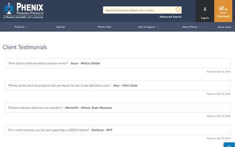 Screenshot of Testimonials Page phenixresearch.com - Testimonials - captured Sept. 27, 2018