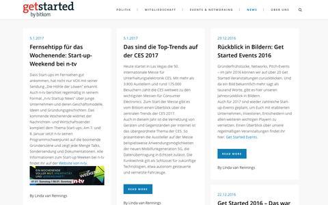Screenshot of Press Page getstarted.de - Start-up News aus dem Digitalverband Bitkom | Get Started - captured Jan. 6, 2017