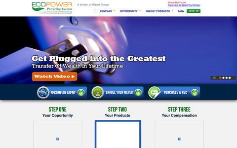 Screenshot of Home Page ecopowerpartners.com - ECO Power - captured Sept. 29, 2014