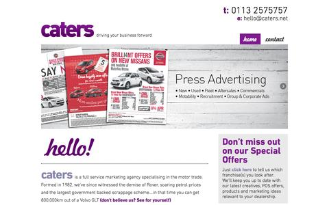 Screenshot of Home Page Terms Page caters.net - home - captured Sept. 29, 2014