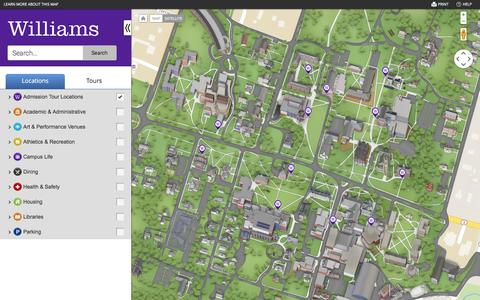 Screenshot of Maps & Directions Page williams.edu - Williams Campus Map - captured Feb. 9, 2016