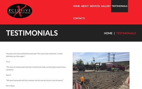 Screenshot of Testimonials Page xclusiveconcrete.com - Testimonials | Xclusive ConcreteXclusive Concrete - captured Oct. 20, 2018