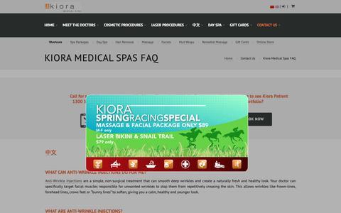 Screenshot of FAQ Page kiora.com.au - Melbourne Anti-Wrinkle Injections FAQ | KIORA - captured Oct. 15, 2018
