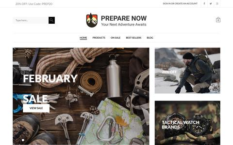 Screenshot of Home Page prepare-now.com - Prepare Now | Be Ready For Your Next Adventure - captured June 30, 2018